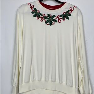 Alfred Dunner white Christmas sweatshirt size Lg